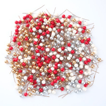 """50 шт./лот, мини-поддельные пластиковые ягода, искусственный цветок, красная вишня, перламутровая тычинка, свадебное, Рождественское украшение, Подарочная коробка """"сделай сам"""""""