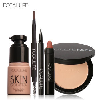 FOCALLURE New 5Pcs New Women Value Pack Makeup Set Gift Liquid Eyeliner Eye Liner Pen Eyebrow Pencil Sexy Lipstick Matte Colors Beauty and Health Makeup and Sets