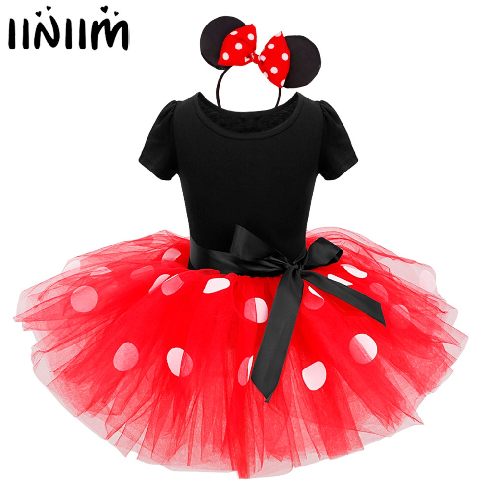 iiniim Girls Mini Dress Up Polka Dots Tutu Ballerina Leotard Dress with Headband Cosplay Costume Party Dress Fancy Dancewear