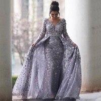 Lebanon Designer Evening Gowns Appliques V Neck Long Sleeves Women Formal Dresses Elegant Formal Gowns Detachable Train Gray