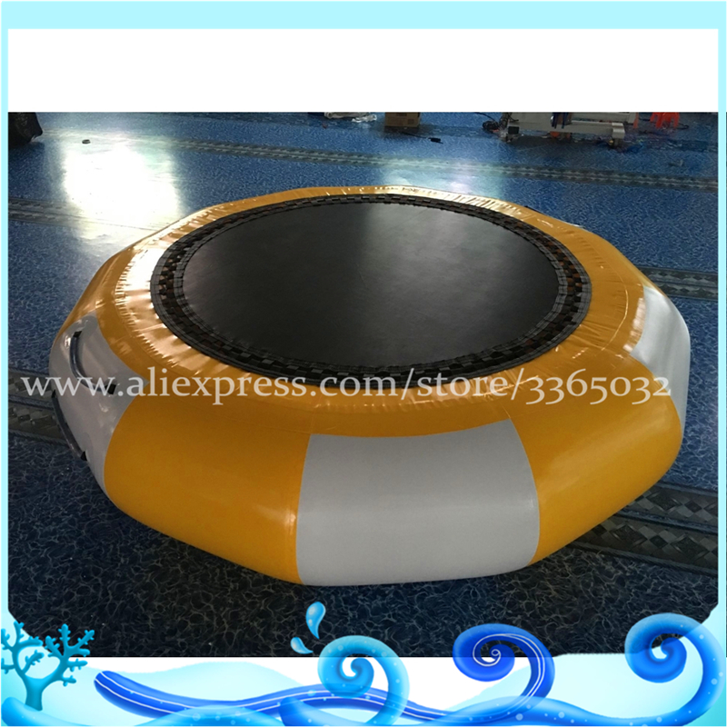 Hot sale air-tight attractive lake PVC inflatable water trampoline/trampoline floating for water sport games high quality 4 1 0 2m inflatable air track gymnastics air track trampoline for water games
