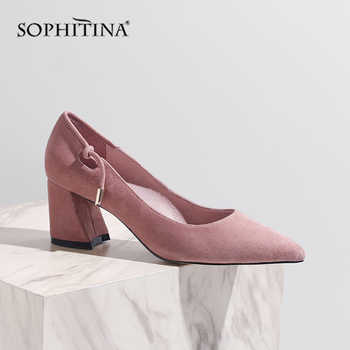 SOPHITINA 2019 New Women\'s Pumps High Square Heel Fashion Shallow High Quality Kid Suede Shoes Slip-on Office Spring Pumps MO144
