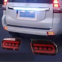 JanDeNing автомобиля светодио дный задний бампер отражатель задние стоп сигналы для Toyota Land Cruiser Prado 2010 2018 (тормоз + дальнего света функция