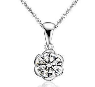 New 2016 flower design super shiny big zircon 925 sterling silver pendant 45cm necklaces jewelry wholesale