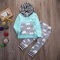 Crianças De Rastreamento Terno Do Bebê Da Menina do Menino Casuais Top Camisola + Calças Compridas Nublado Imprimir Outfit Set Legal terno de Bebes