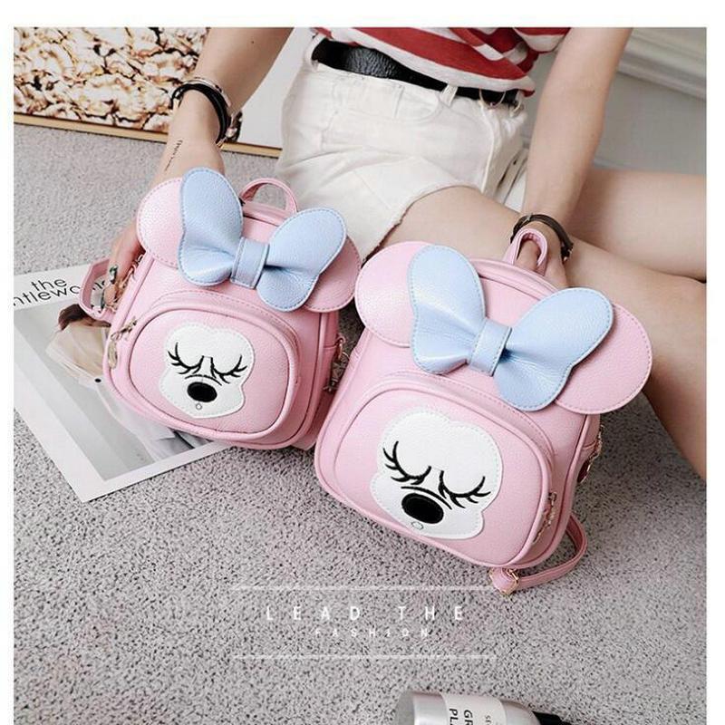 2018 New Fashion Girls Mickey Backpack Female Backpack PU leather Women Backpack Princess Ladies Bowtie Cartoon Mini Baby bag