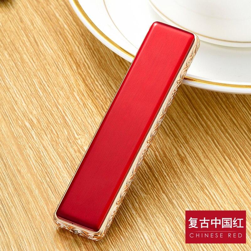 휴대용 미니 안전 USB 충전식 전자 담배 라이터 순수한 컬러 스트립 금속 라이터 교체 열선