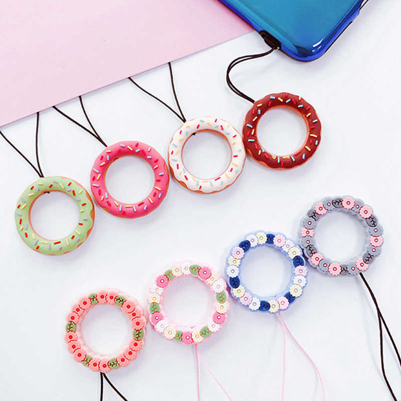 Silicone Strap Lanyard Kawaii Chain Straps Donuts Charms For iPhone Samsung Huawei Phone Straps Key Lanyard For Keys