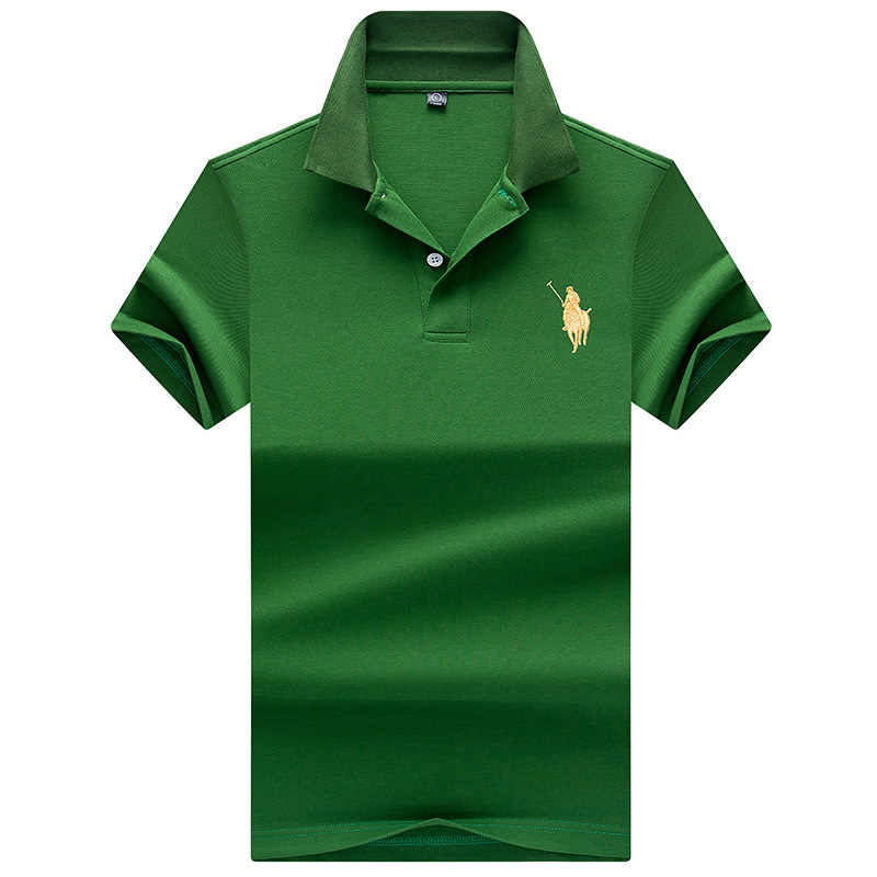 Мужские рубашки поло с вышивкой, модные мужские Поло, эластичные поло с коротким рукавом, брендовые летние топы YP9097