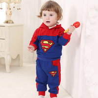 2017 Cotton Superman Baby Boys Hoody And Pants 2pcs Clothes Set For 1 2 Years Old
