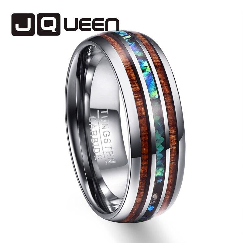 Los hombres de la boda marca anillos totalmente pulido madera de acacia abalone shell anillo de acero de tungsteno T025R