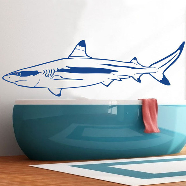 Great White Shark Wall Stickers Bathroom Waterproof Vinyl Nursery Wall  Decals Living Room Sticker Art Mural
