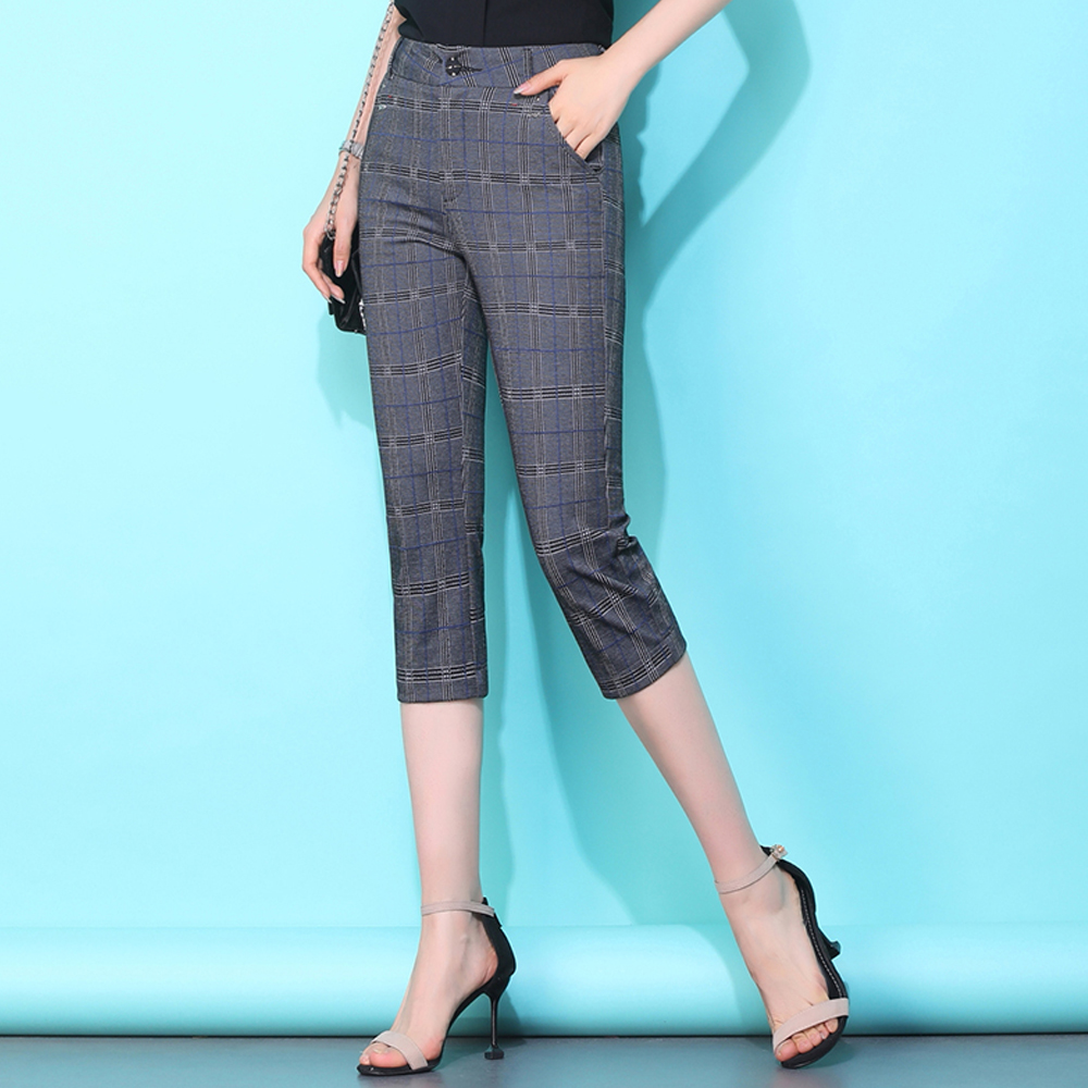 New summer thin section plaid women   pants   large size calf length   pants     capris   cropped trousers ladies casual straight   pants