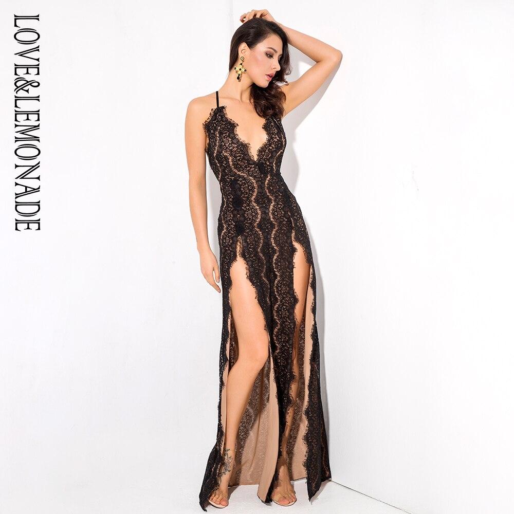 Love Lemonade Black Deep V Neck Open Back Cut Out Lace Maxi Dress LM1083
