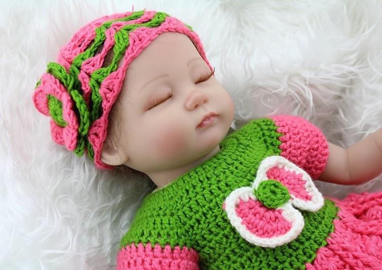 17 դյույմ սիլիկոնային տիկնիկներ Քնած մանկական տիկնիկ Lifelike Soft Silicone Reborn Baby Dolls Ձեռագործ նորածնի տիկնիկներ բոնեկներով բրինկներով