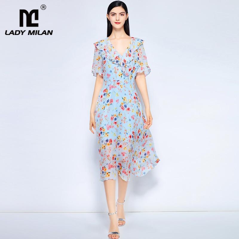 Lady Milan Womens Sexy V Neck Short Sleeves Floral Printed Ruffles Asymmetric Fashion Mid Calf Holiday Casual Dresses