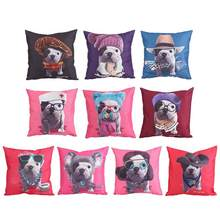 Natal Sarung Bantal 45X45 Cm Anjing Percetakan Bantal Case Soft Sofa Melempar Bantal Cover Home Kantor Dekorasi(China)