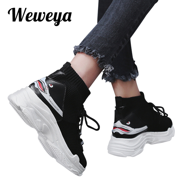Weweya Totem/Носки с рисунком акулы; женские высокие носки с буквенным принтом; женские кроссовки на плоской платформе; уличная парусиновая обувь; большие размеры 46