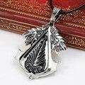 Assassins Creed 3 Templar Necklace Alloy Shape Pendant Leather Chain Figure Women Men Fashion Jewelry