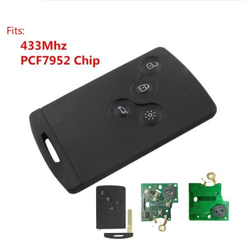 Newest 433Mhz PCF7952 Chip 4 Button Remote Key Smart Card Car Key For Renault Koleos Clio Megane Scenic Laguna