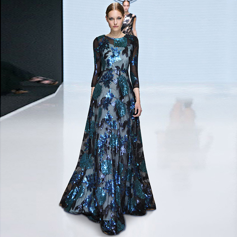 shining blue sequin maxi dress o neck half sleeve high waisted floor length ruffle long flower