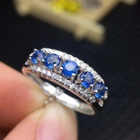 Anniversary Ring Natural real sapphire ring 925 sterling silver Fine handworked jewelry Finger rings