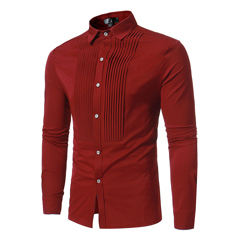3 Color Adult Men Casual Slim Fit Pleated Front Solid Shirt High Collar Button Up Tee Top Long Cuff Sleeves Frill Wear For Men
