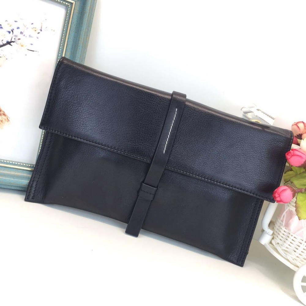 2017 famous brand soft cowhide leather vintage luxury clutch female party casual designer envelope chain shoulder crossbody bag