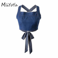 MLIYOYA 2017 Summer New Women Denim Camisole Fashion Sexy Ladies Back Hollow Out Bow Tie Tank