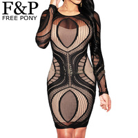 2457e1e06c4265 2015 Sexy Women Dress Lace Crochet Trim Dress Long Sleeve Bandage Dress For  Women