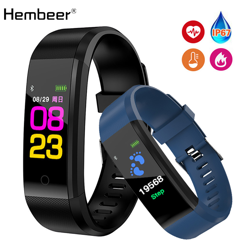 Hembeer New Smart Watch Men Women Heart Rate Monitor Blood Pressure Fitness Tracker Smartwatch Sport Watch for ios android +BOX