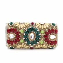 India Style Designer Handbags High Quality Women Bags Clutch Purse with Shoulder Chain Beaded Gemstone Evening Clutch Bag