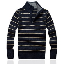 Casual stripe Mens Sweaters For 2017 New Fashion winter slim style ZIP Pullovers Sweater