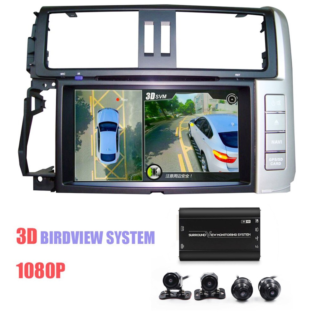 NEWEST 3D HD 360 <font><b>Car</b></font> Surroundview Monitoring System Bird View 4 Camera <font><b>DVR</b></font> Dash Camera HD 1080P Recorder Parking Monitoring image