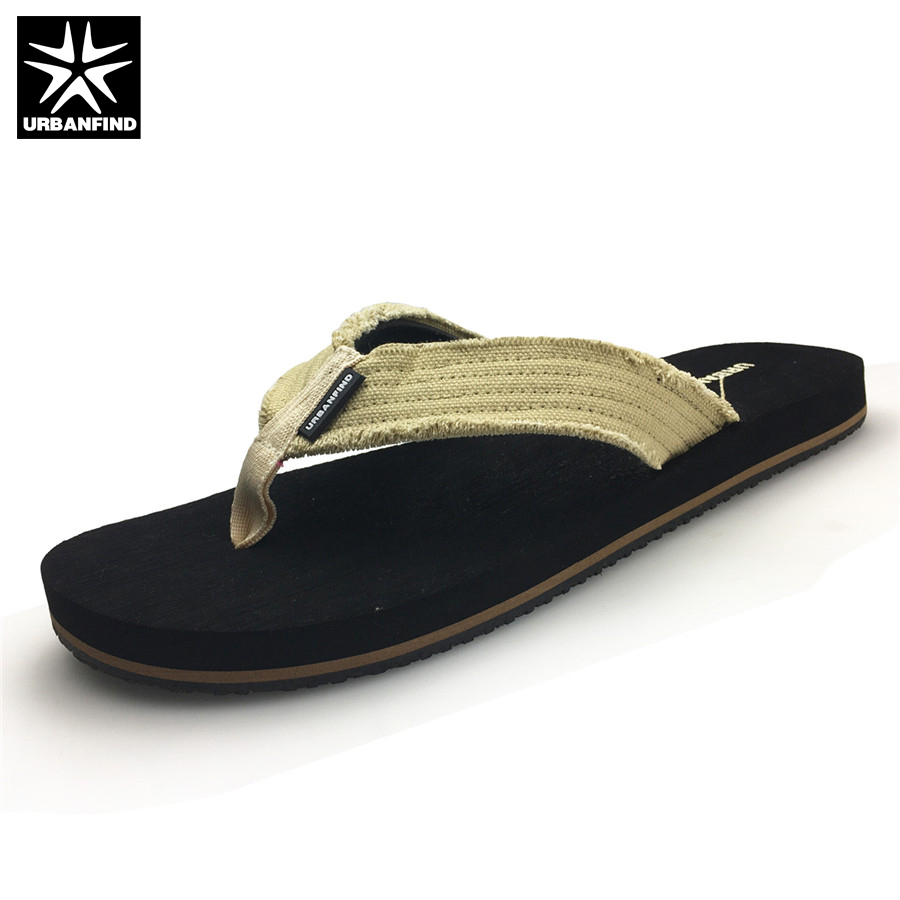 URBANFIND Canvas Band Men Casual Flip Flops Big Size 41-46 Breathable Man Summer Slippers Beach Shoes Black Brown