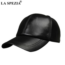 2d147e1e27a LA SPEZIA Women Baseball Cap Leather Black Casual Baseball Caps Men Genuine  Leather Adjustable Autumn High Quality Snapback Hats