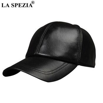 LA SPEZIA mujeres gorra de béisbol de cuero Casual negro gorras de béisbol  de cuero genuino de los hombres ajustable de alta calidad otoño Snapback ... 404977783fc