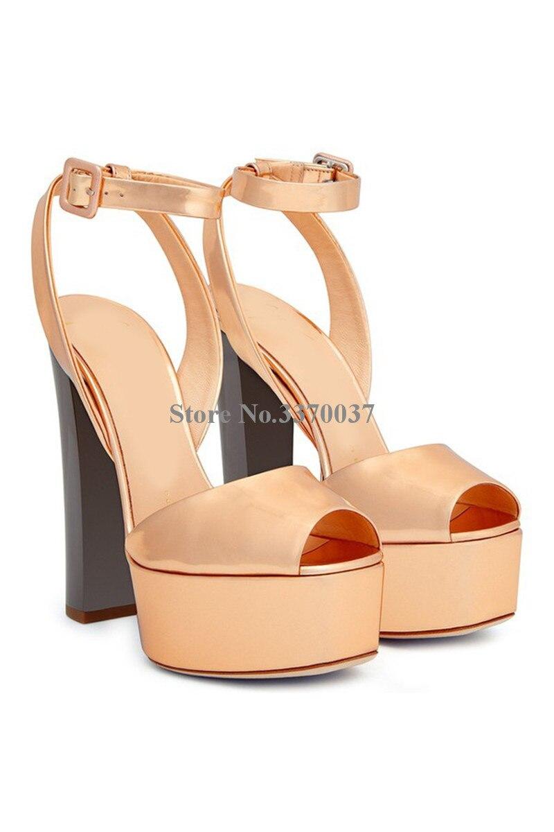 Nouvelle mode femmes bout ouvert or haute plate-forme talon épais pompes miroir en cuir verni bride à la cheville talons hauts chaussures habillées - 2