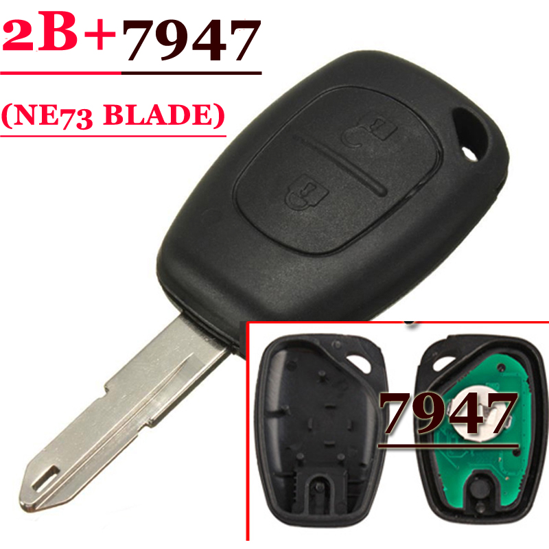 (1 pcs ) 2 Button Remote Key With PCF7947 Chip NE73 Blade For Renault Traffic Clio