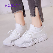 Mesh Breathable Soft Bottom sneakers women 2019 Summer shoes woman fashion wild thick bottom flying Woven Casual ladies shoes 2019 summer new fashion running shoes flying woven socks women sneakers soft breathable lace up shoes ladies white shoes woman