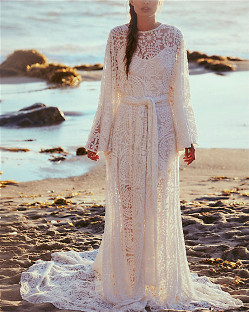 New Bohemian Wedding Dress 2017 O Neck Lace Beach Wedding Dresses