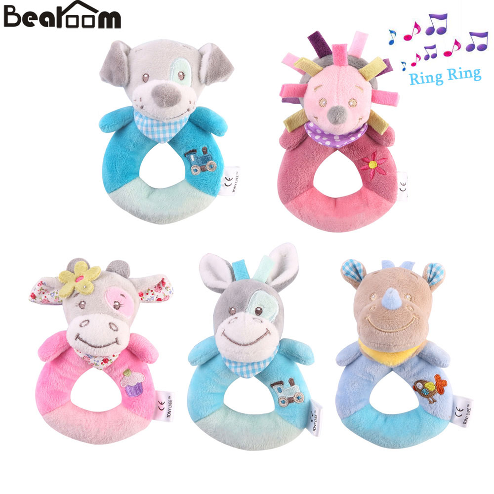 Bearoom Baby Rattles Mobiles Cartoon Toys For Baby Animal Hand Bell Cute Dog Rattle 0-12 Months Toy Learning Education Resource baby toys