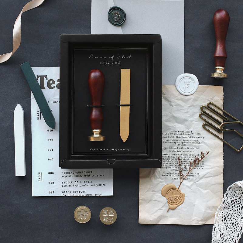 Vintage Paint Seal Wax Beeswax Stick Stationery Set DIY Document Letter Embossing Sakura Leaf Plants Stamp Inkpad Envelope Tools