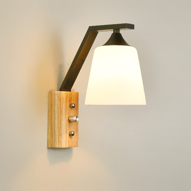 Scandinavian modern minimalist creative wall lamp bedside wall scandinavian modern minimalist creative wall lamp bedside wall mounted sconce lights for corridor bedrooms wood wall aloadofball Image collections