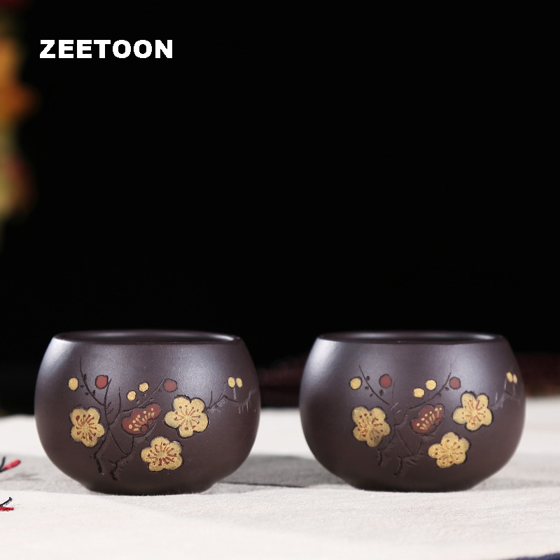80cc Authentic Yixing Teacup Purple Clay Handmade Boutique Creative Plum Master Cup China Kung Fu Tea Set Tea Cup Pottery Bowl