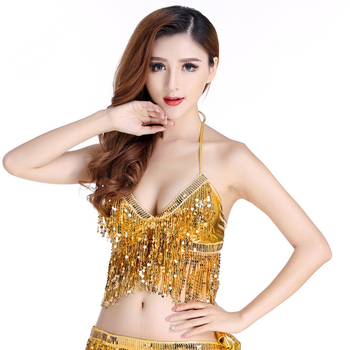 Cheap 2018 New Women Belly Dance Clothing Tank Top Choli Tops Halter Backless Dance Sequins Tassel Bra with Chest Pads image