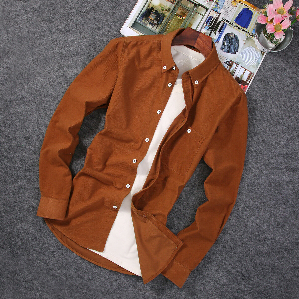 Fashion Men's Corduroy Stand Collar Shirts Winter Warm Long Sleeve Basic Solid Shirts Casual Tops Blouse