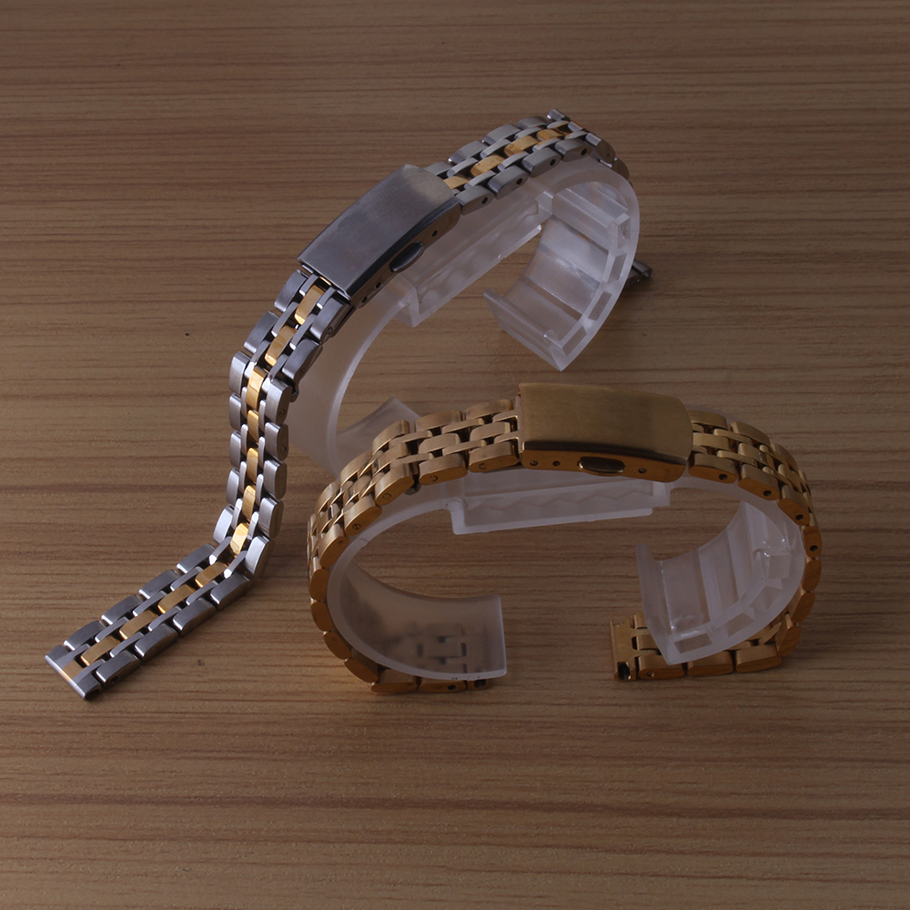 Gold Stainless steel Watchband for quartz watches women men brand clocks 10mm 12mm 14mm 16mm 18mm 19mm 20mm bracelet straps new watchband snake leather waterproof watches straps men fashion accessories bracelet 18mm 19mm 20mm 21mm for ar watchband