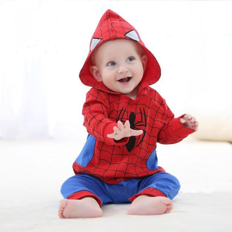 Baby Boys Clothing <font><b>Spiderman</b></font> Romper Set Cosplay <font><b>Costume</b></font> Bebe Cartoon Jumpsuit Roupas Meninos <font><b>Infant</b></font> Clothes Winter Hooded Suit