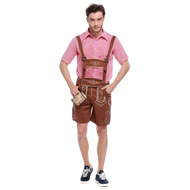 S XL Adult Man Oktoberfest Costume Lederhosen Bavarian Octoberfest German Festival Beer Costumes for Men